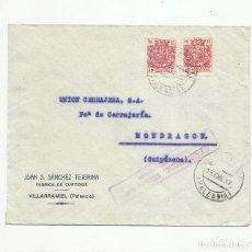 Sellos: CIRCULADA 1937 DE VILLARRAMIEL PALENCIA A MONDRAGON GUIPUZCOA CON CENSURA MILITAR. Lote 139343334