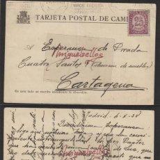 Sellos: TARJETA POSTAL DE CAMPAÑA DEST CARTAGENA(MURCIA) ORIGEN MADRID FECHA OCT 1938 MAT RODILLO. Lote 139346038
