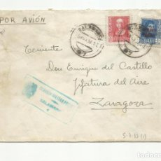 Sellos: CIRCULADA 1937 DE SALAMANCA A JEFATURA DEL AIRE ZARAGOZA CON CENSURA MILITAR. Lote 139419406
