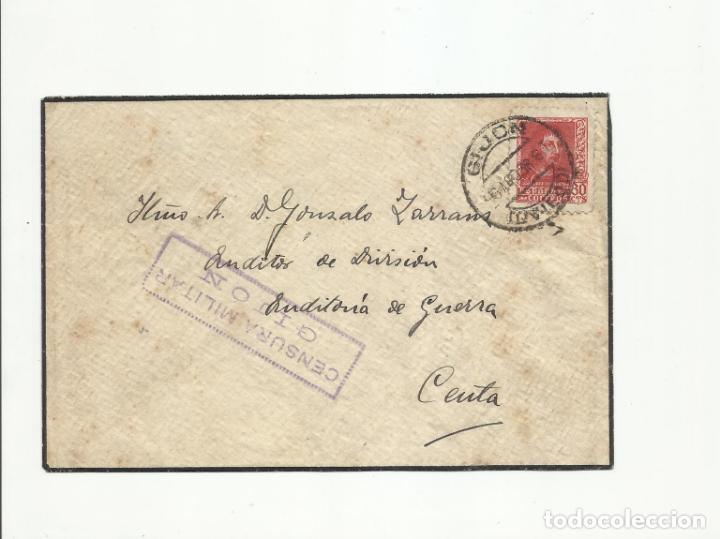 CIRCULADA 1938 AUDITORIA DE GUERRA DE GIJON A CEUTA CON CENSURA MILITAR (Sellos - España - Guerra Civil - De 1.936 a 1.939 - Cartas)