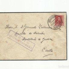 Sellos: CIRCULADA 1938 AUDITORIA DE GUERRA DE GIJON A CEUTA CON CENSURA MILITAR. Lote 139419550