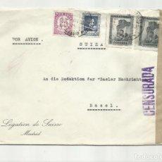 Sellos: CIRCULADA 1938 DE MADRID A BASEL SUIZA CON CENSURA MILITAR . Lote 139424090