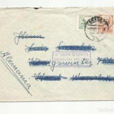 Sellos: CIRCULADA 1937 DE ZARAGOZA A ALEMANIA CON CENSURA MILITAR . Lote 139434922