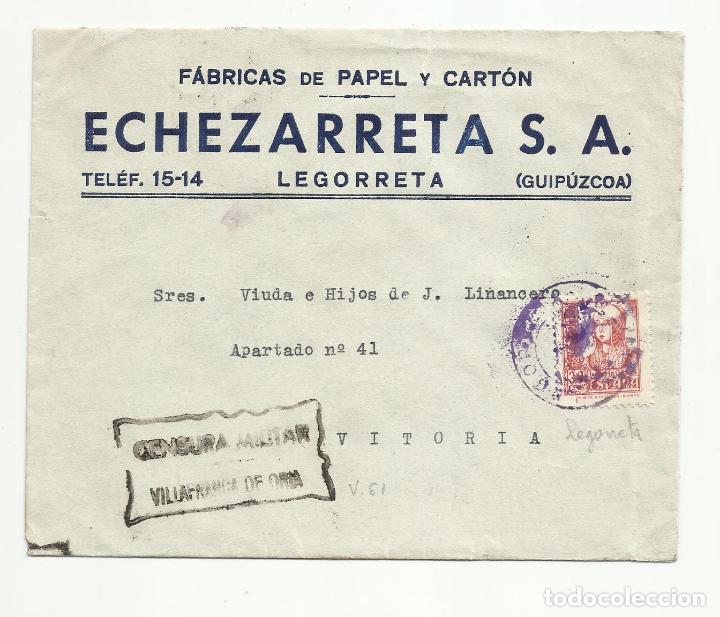 CIRCULADA DE LEGORRETA GUIPUZCOA A VITORIA CON CENSURA MILITAR VILLAFRANCA DE ORIA (Sellos - España - Guerra Civil - De 1.936 a 1.939 - Cartas)