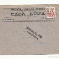 Sellos: CIRCULADA 1938 DE PAMPLONA A VITORIA CON CENSURA MILITAR. Lote 139543266