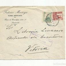 Sellos: CIRCULADA 1938 DE SANTANDER A VITORIA CON CENSURA MILITAR . Lote 139556482