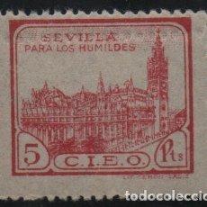 Sellos: SEVILLA, 5 PTAS,VARIEDAD: DOBLE DENTADO HORIZONTAL, C.I.E.O. --PARA LOS HUMILDES, VER FOTO. Lote 139701086