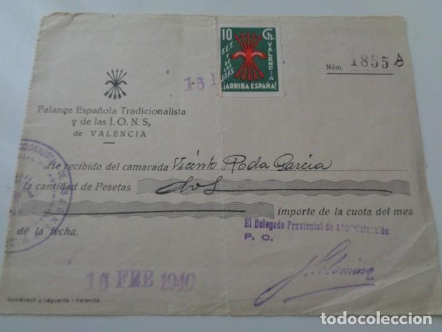 VALENCIA. FALANGE, CUOTA DE FEBRERO 1940. CON VIÑETA FET Y JONS. VALENCIA. 10 CENTIMOS (Sellos - España - Guerra Civil - Beneficencia)