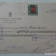 Sellos: VALENCIA. FALANGE, CUOTA DE FEBRERO 1940. CON VIÑETA FET Y JONS. VALENCIA. 10 CENTIMOS. Lote 140171338