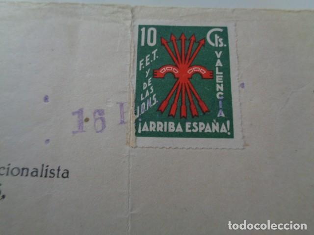 Sellos: VALENCIA. FALANGE, CUOTA DE FEBRERO 1940. CON VIÑETA FET Y JONS. VALENCIA. 10 CENTIMOS - Foto 2 - 140171338