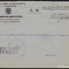 Sellos: GUERRA CIVIL. 1939. SEVILLA A BARCELONA.. Lote 140268266
