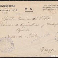 Francobolli: GUERRA CIVIL. 1937. POYALES DEL HOYO A BURGOS.. Lote 140270222