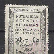Sellos: 7543A-SELLO LOCAL FISCAL PORT BOU GERONA MUTUALIDAD AGENTES ADUANAS,BARCOS,MARINA,RARO,ESCASO,50 CTS. Lote 140373542