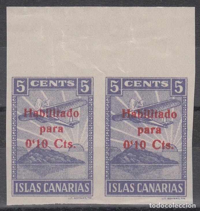 GUERRA CIVIL, CANARIAS , 5 CTS HABILITADO PARA 10 CTS , PAREJA SIN DENTAR. (Sellos - España - Guerra Civil - De 1.936 a 1.939 - Nuevos)