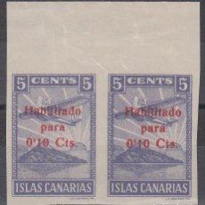 Sellos: GUERRA CIVIL, CANARIAS , 5 CTS HABILITADO PARA 10 CTS , PAREJA SIN DENTAR. . Lote 140436490
