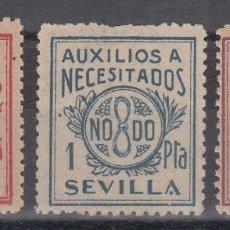 Sellos: GUERRA CIVIL, AUXILIOS A NECESITADOS, SEVILLA. 25 CTS, 1 PTS, 50 PTS, . Lote 140438082