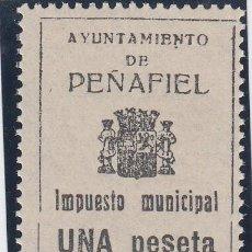 Sellos: GUERRA CIVIL, IMPUESTO MUNICIPAL, AYUNTAMIENTO DE PEÑAFIEL (VALLADOLID). 1 PTS, NO RESEÑADO. . Lote 140439726