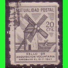 Sellos: BENEFICENCIA MUTUALIDAD POSTAL, 20 CTS. NEGRO, MOLINO (O) DENTADO DE LÍNEA. Lote 140448078