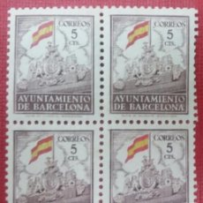 Sellos: BARCELONA. II ANIVERSARIO DE LA LIBERACIÓN DE BARCELONA, 1941. 5 CTS. (Nº 29 EDIFIL). BLOQUE DE 4.. Lote 140757530