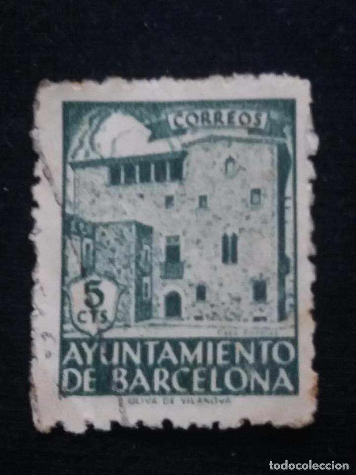 SELLO CORREOS AYUNTAMIENTO DE BARCLONA 5 CTS AÑO 1936 USADO (Sellos - España - Guerra Civil - De 1.936 a 1.939 - Usados)
