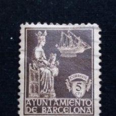 Sellos: SELLO CORREOS AYUNTAMIENTO DE BARCELONA 5 CTS AÑO 1939 USADO. A.. C.. Lote 141243314