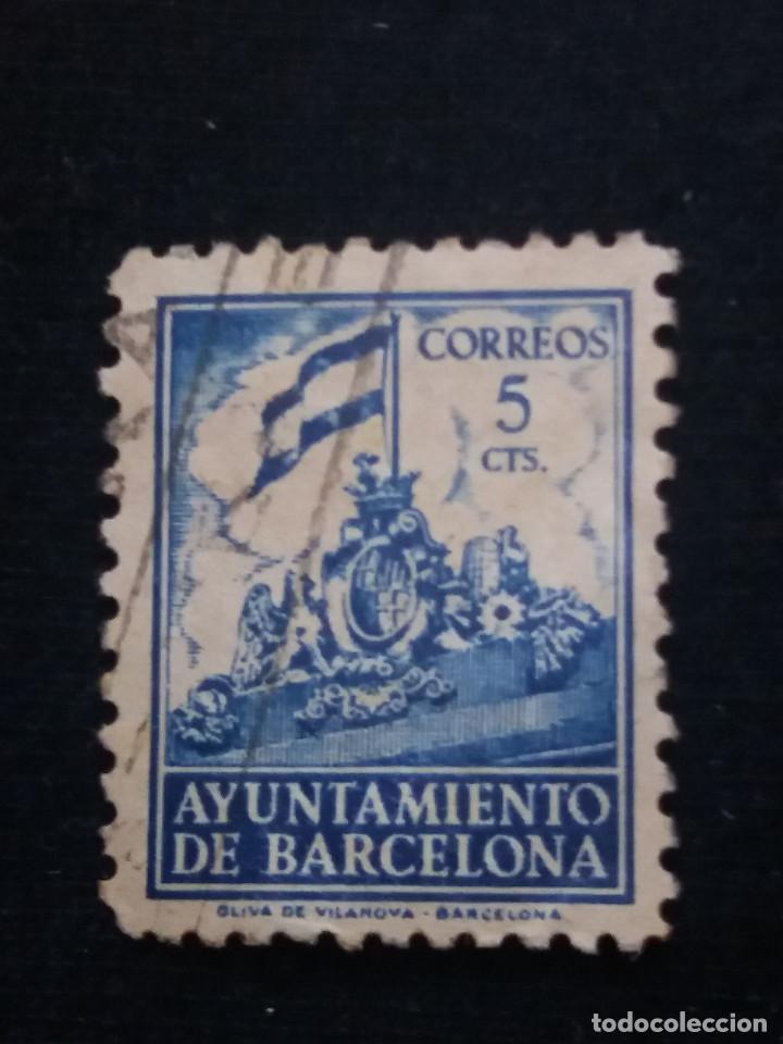 SELLO CORREOS AYUNTAMIENTO DE BARCELONA 5 CTS AÑO 1939 USADO. A.. (Sellos - España - Guerra Civil - De 1.936 a 1.939 - Usados)