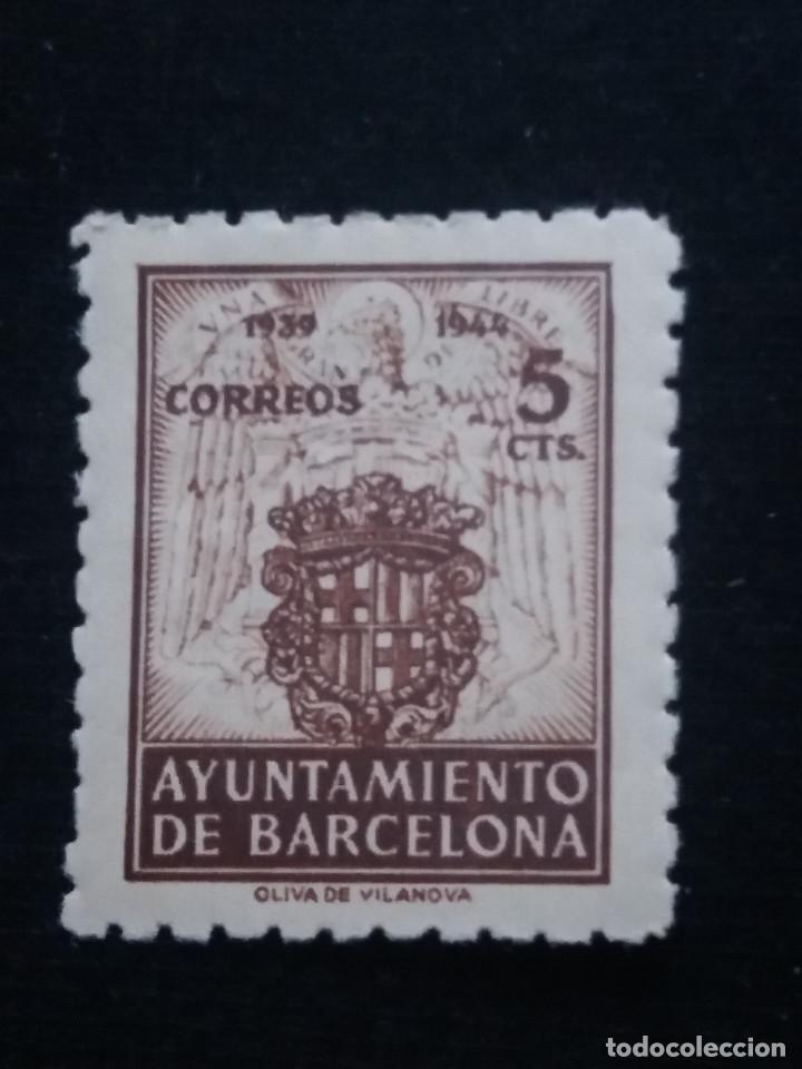 SELLO CORREOS AYUNTAMIENTO DE BARCELONA 5 CTS AÑO 1939 USADO. 2. (Sellos - España - Guerra Civil - De 1.936 a 1.939 - Usados)