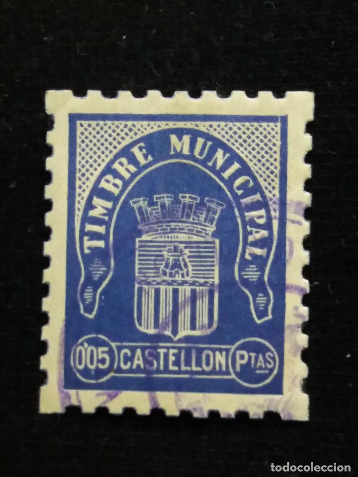 SELLO CORREOS TIMBRE MUNICIPAL CASTELLON 0,05 PTAS.- AÑO 194?. USADO (Sellos - España - Guerra Civil - Locales - Usados)