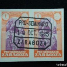 Sellos: SELLO CORREOS PRO SEMINARIO DE ZARAGOZA 5 CTS.- AÑO 1945. USADO. 2.. Lote 141250638