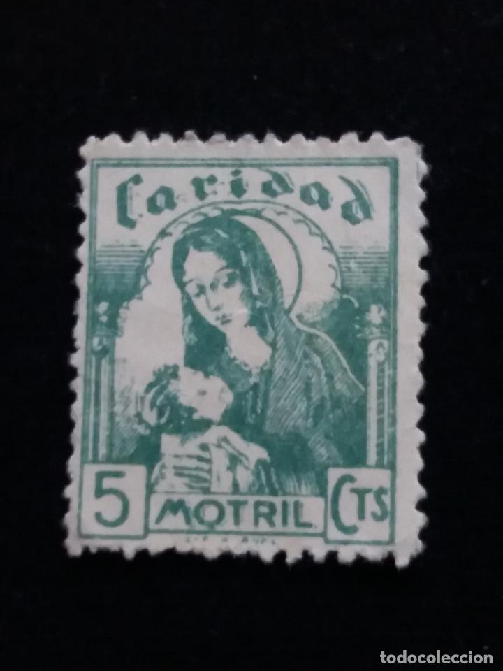 SELLO CORREOS CARIDAD MOTRIL 10 CTS.- AÑO 1940. USADO. . (Sellos - España - Guerra Civil - Locales - Usados)
