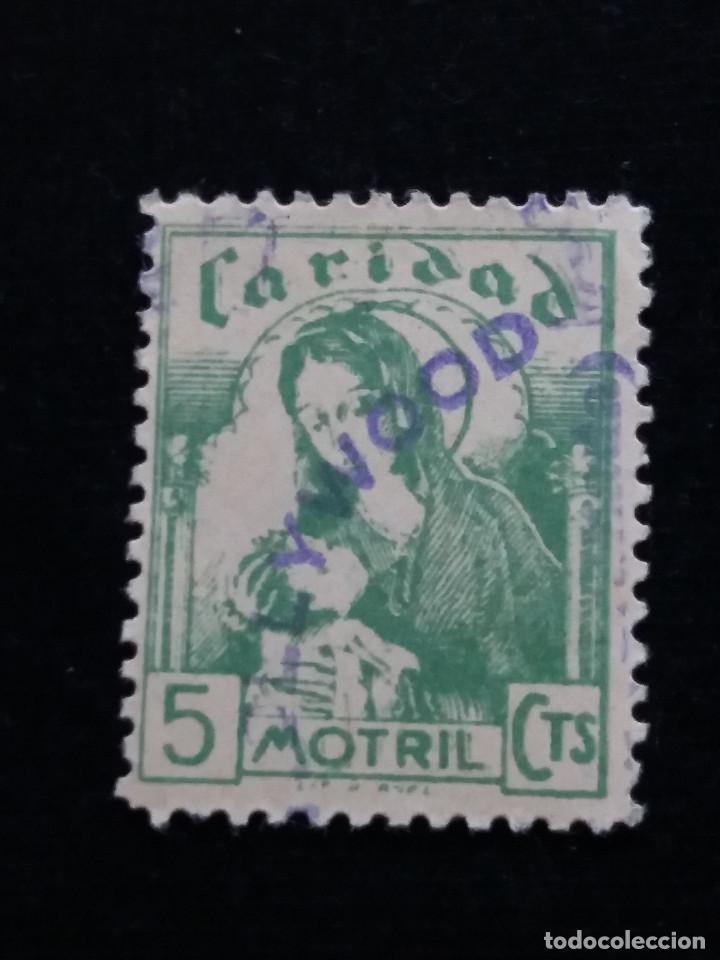 SELLO CORREOS CARIDAD MOTRIL 10 CTS.- AÑO 1940. USADO. MARCADO HOLLYWOOD (Sellos - España - Guerra Civil - Locales - Usados)