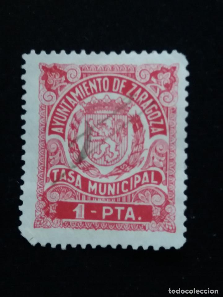 SELLO CORREOS TASA MUNICIPAL DE ZARAGOZA 1 PTAS.- AÑO 1945. USADO. (Sellos - España - Guerra Civil - Locales - Usados)