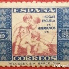 Sellos: ESPAÑA, BENEFICENCIA. ALEGORÍA INFANTIL, 1937. 5 CTS. AZUL Y VIOLETA (Nº 9 EDIFIL). . Lote 141269190