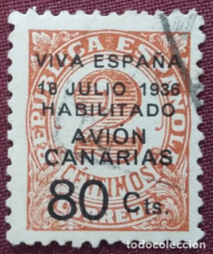 CANARIAS, EMISIONES PATRIÓTICAS. SELLOS REPUBLICANOS HABILITADOS, 1936-37 (Nº 5 EDIFIL). (Sellos - España - Guerra Civil - De 1.936 a 1.939 - Usados)
