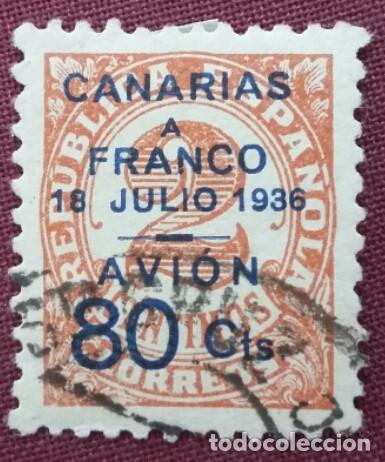 CANARIAS, EMISIONES PATRIÓTICAS. SELLOS REPUBLICANOS Y NACIONALES HABILITADOS, 1937 (Nº 12 EDIFIL). (Sellos - España - Guerra Civil - De 1.936 a 1.939 - Usados)