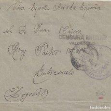 Sellos: CARTA VITORIA PAIS VASCO A LOGROÑO CENSURA MILITAR VALLADOLID BATALLÓN DE MONTAÑA FLANDES. Lote 142224478