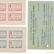 Timbres: ALLEPUZ VIZCAYA 11-12 EN HB Y CUOTA HERMANDAD EXCAUTIVOS 1940 FALANGE. Lote 142306606