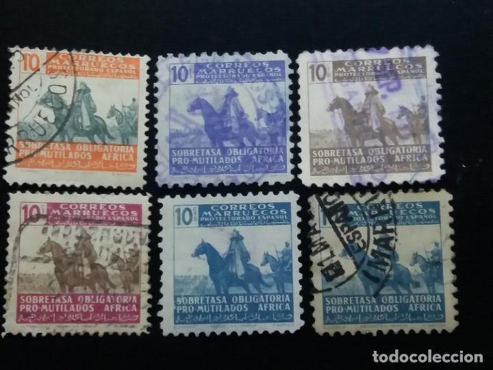 6 SELLO CORREOS. MARUECOS PROTECTORADO ESPAÑOL. USADOS AÑO 1940. (Sellos - España - Guerra Civil - De 1.936 a 1.939 - Usados)