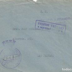 Sellos: CARTA GUERRA CIVIL CENSURA MILITAR SANTANDER LAS PALMAS FRANQUICIA MINISTERIO ORGANIZACION SINDICAL. Lote 142229370