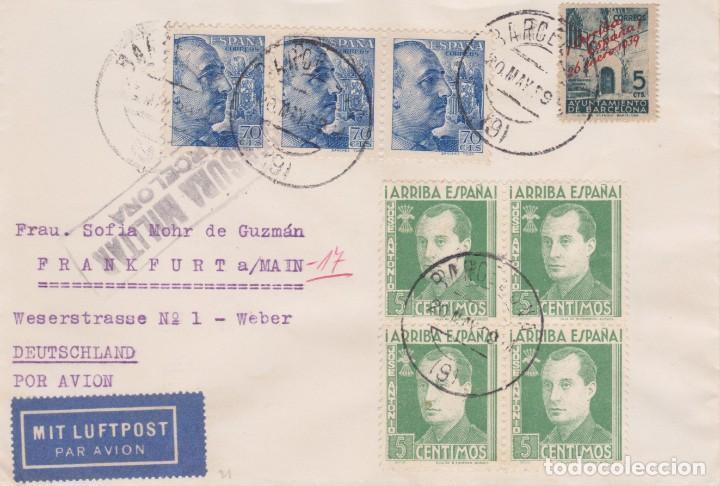 SOBRE CON TRIO PERFIL FRANCO, BARNA Y BLOQUE DE 4 JOSE ANTONIO PRIMO DE RIVERA DE BARCELONA A ALEMAN (Sellos - España - Guerra Civil - De 1.936 a 1.939 - Cartas)