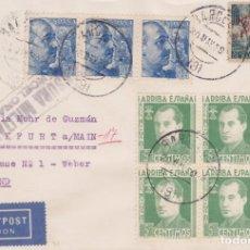 Sellos: SOBRE CON TRIO PERFIL FRANCO, BARNA Y BLOQUE DE 4 JOSE ANTONIO PRIMO DE RIVERA DE BARCELONA A ALEMAN. Lote 143170470