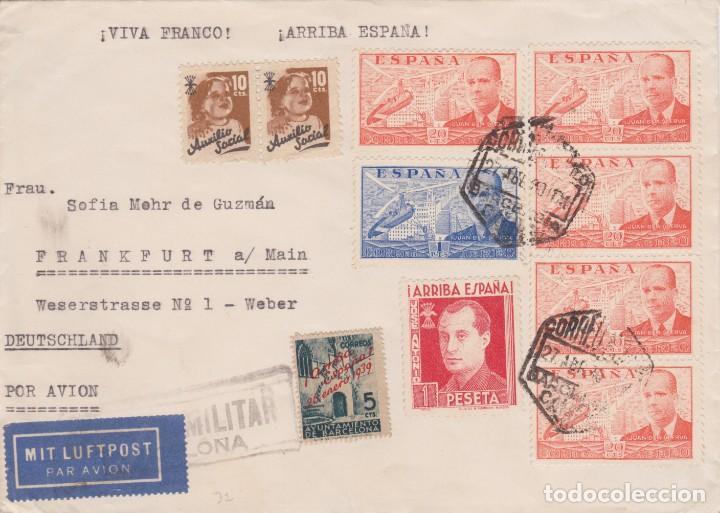 CARTA BARCELONA ALEMANIA 1940. JUAN DE LA CIERVA TIRA 4 SELLOS, BARNA, PRIMO DE RIVERA, AUXILIO SOCI (Sellos - España - Guerra Civil - De 1.936 a 1.939 - Cartas)