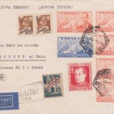 Sellos: CARTA BARCELONA ALEMANIA 1940. JUAN DE LA CIERVA TIRA 4 SELLOS, BARNA, PRIMO DE RIVERA, AUXILIO SOCI. Lote 143170726