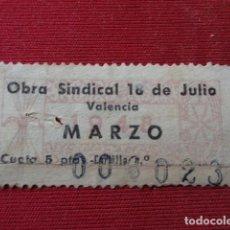 Sellos: VALENCIA. OBRA SINDICAL 18 DE JULIO. CUOTA 5 PTAS. . Lote 143197994