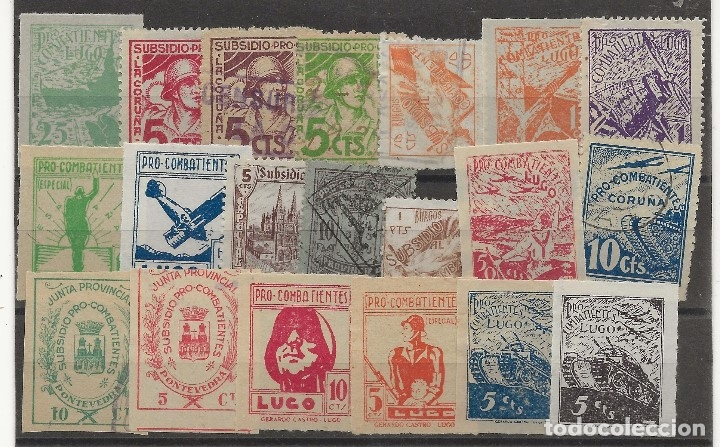 R60/ 20 SELLOS LOCALES DIFERENTES, LUGO ESPAÑA, NUEVOS** Y USADOS (Sellos - España - Guerra Civil - De 1.936 a 1.939 - Nuevos)