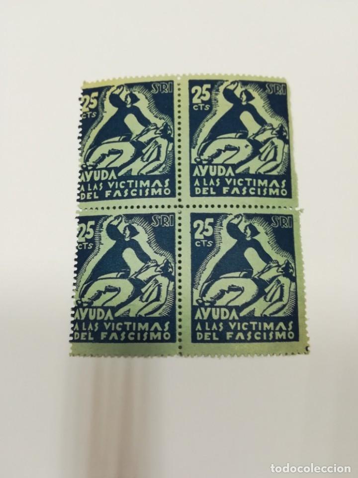 Sellos: Guerra civil 4 viñetas SRI SOCORRO ROJO INTERNACIONAL 1937 25 C - Foto 2 - 114746647