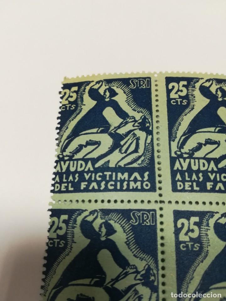 Sellos: Guerra civil 4 viñetas SRI SOCORRO ROJO INTERNACIONAL 1937 25 C - Foto 3 - 114746647