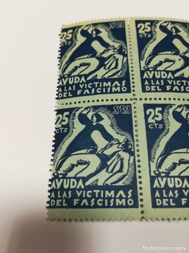 Sellos: Guerra civil 4 viñetas SRI SOCORRO ROJO INTERNACIONAL 1937 25 C - Foto 5 - 114746647