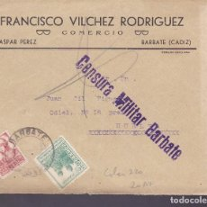 Sellos: F2-23-GUERRA CIVIL. CARTA BARBATE (CÁDIZ) 1937 LOCAL. Y CENSURA . Lote 143497878