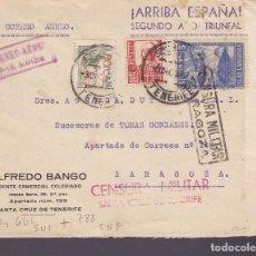 Timbres: F1-10- GUERRA CIVIL. CARTA S.C. TENERIFE 1937. LOCALES CANARIAS . Y CENSURAS TENERIFE Y ZARAGOZA. Lote 143508066